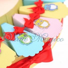 Torta Bomboniere Compleanno 18 Anni con Ciondolo Gufetto Colorato Portafortuna