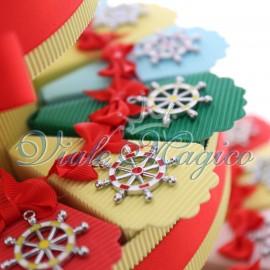 Bomboniere Tema Mare Torta Confetti con Ciondoli Timoni Colorati Compleanno