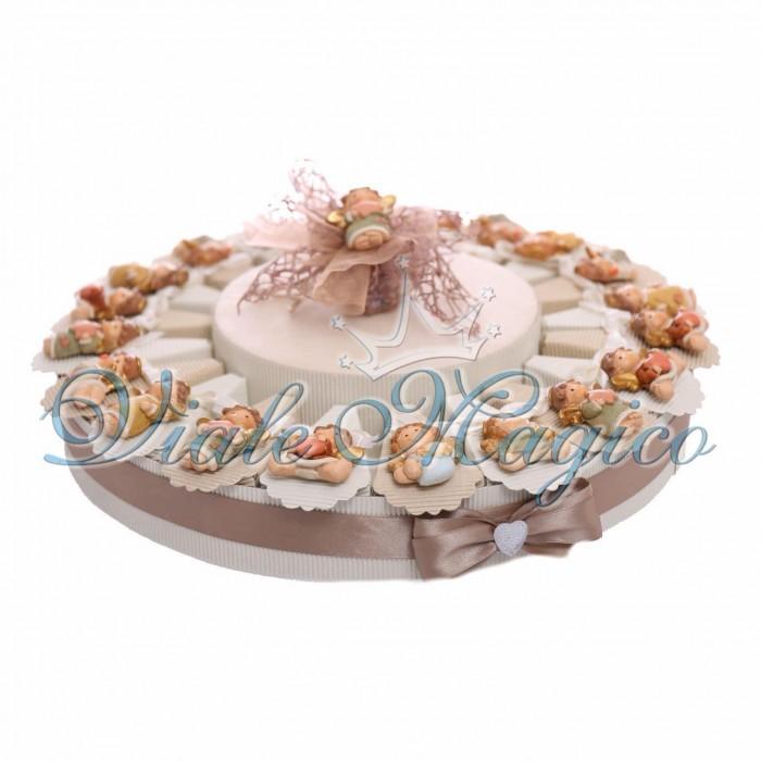 Torta Bomboniera Magnete Angioletti Battesimo Bimba e Bimbo Confettata Cesto