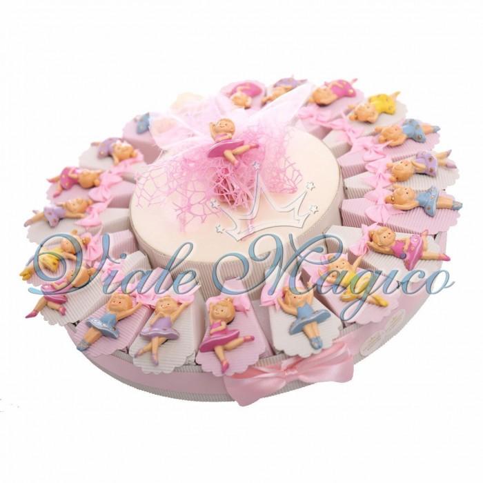 Cesto Torta Portaconfetti Magnete Ballerine Colorate Primo Compleanno Bambina Danza