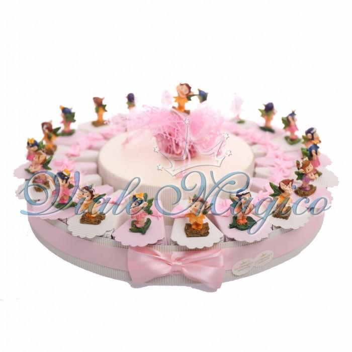 Cesto Torta Bomboneire Statuine folletto Primo Compleanno Confetti Rosa