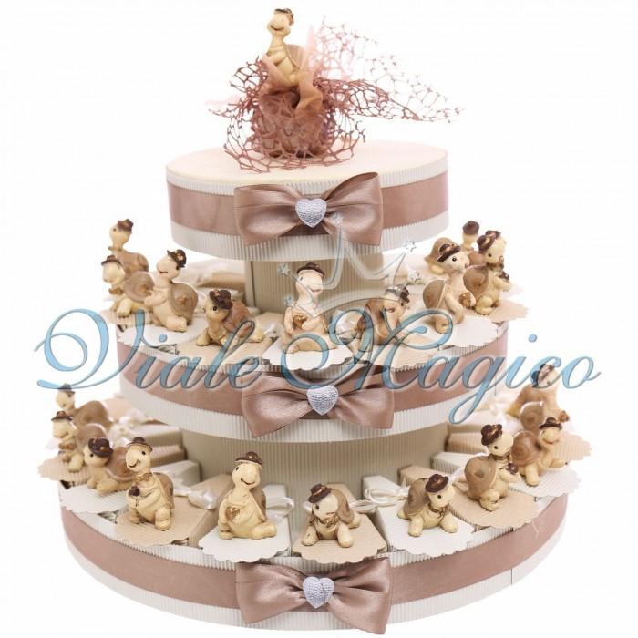 Torta Porta Confetti Statuine Tartaruga con Battesimo Compleanno Confetti Gemelli