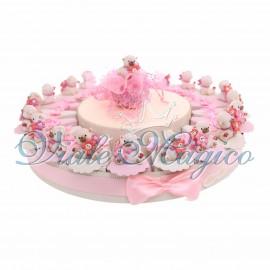 Torta Portaconfetti Statuina Orsetto con Fiore smile Bambina da 20 pezzi