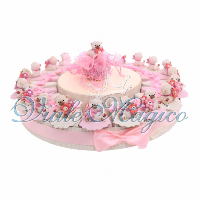 Torta Portaconfetti Statuina Orsetto Nascita Compleanno Battesimo Bambina 20 pezzi
