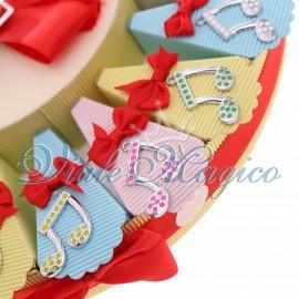 Torta Bomboniere Musicali Ciondoli Nota con Pois Compleanno