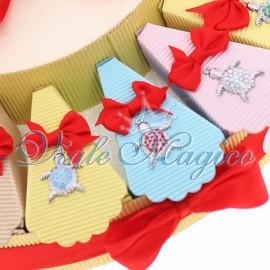 Bomboniere Torta Portafortuna con Ciondoli Tartarughe Colorate Compleanno