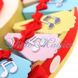 Offerta Bomboniere Torta Musicale con Ciondoli Note Compleanno