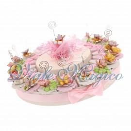 Torta Porta Confetti da 20 pezzi Memoclip Fiori e Farfalle Compleanno Comunione Battesimo