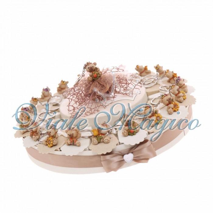 Torta Bomboniera Portachiavi Orsetto Fiore Farfalla Battesimo Bimba e Bimbo
