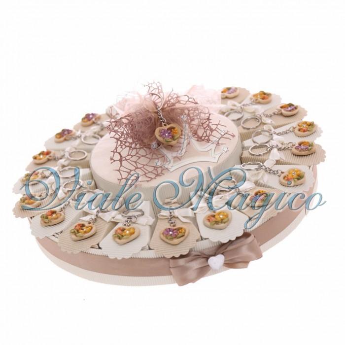 Torta Porta Confetti 20 Segnaposti Matrimonio Promessa Portachiavi Cuore Fiori Confettata
