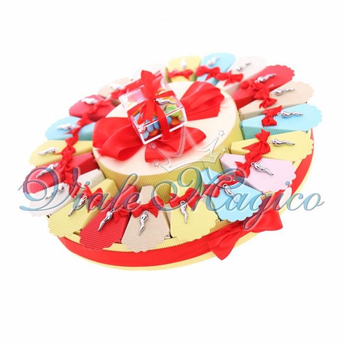 Torta Bomboniere Ciondolo Corno Portafortuna Silver Offerte Compleanno Confetti