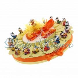 Torta Bomboniera con 20 Portachiavi Animaletti dei fiori Primo Compleanno