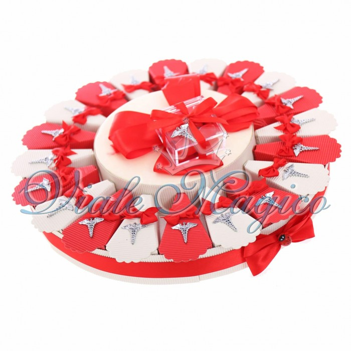 Torta Bomboniere Mini Caduceo Laurea in Farmacia Ciondoli Portachiavi Confetti