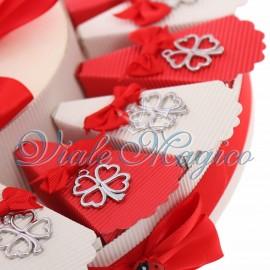 Torta Bomboniere Ciondolo Quadrifoglio Portafortuna Silver Offerte Confettata