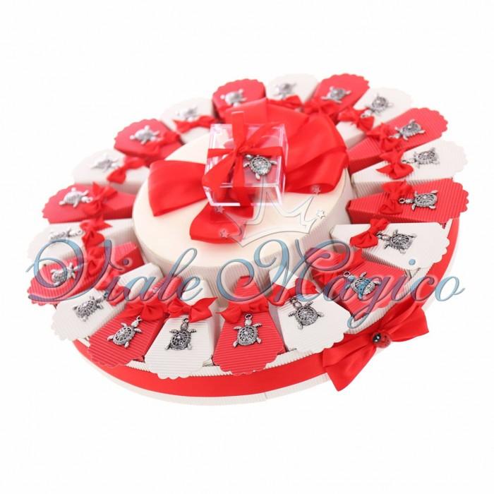Offerte Torta Bomboniere Confettata Ciondolo Tartaruga Portafortuna Silver