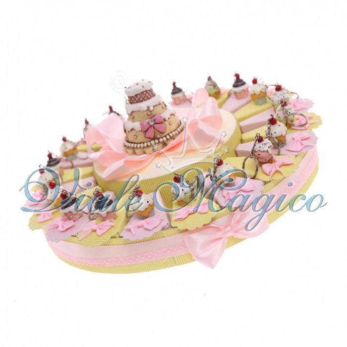 Torta Bomboniera Portachiavi Cupe Cake Compleanno Bambina 18 Anni Confettata