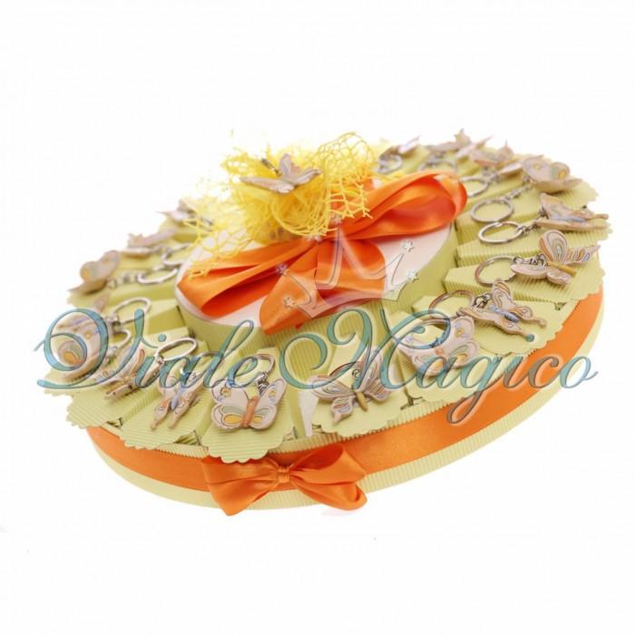 Cesto Porta Confetti Portachiavi Farfalla Strass Segnaposto Compleanno