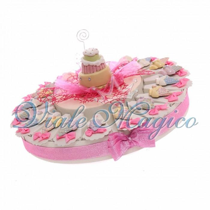 Cesto Torta Bomboniere 20 pezzi Magnete Gelato Segnaposto Compleanno 18 Anni Confettata