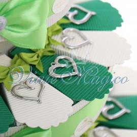 Torta Confetti con Ciondolo Cuore Elegante x Matrimonio Promessa