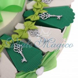 Torta Bomboniera Musicale con Chiave Elegante della Prosperità Matrimonio Sposi