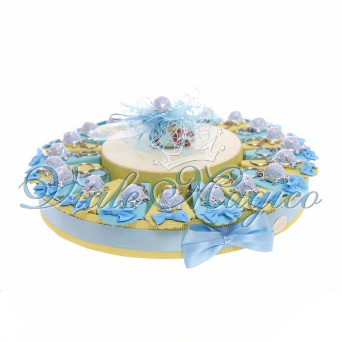 Torta Porta Confetti da 20 pezzi Portachiavi Tartaruga Nascita Compleanno Baby Boys Bambino