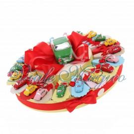 Torta Porta Confetti Portachiavi Macchinine Colorate per Compleanno Bimbo