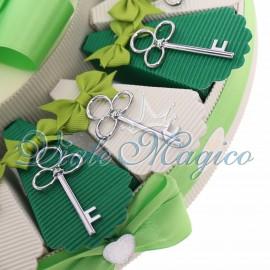 Torta Bomboniere Chiave Fiore Silver Matrimonio Promessa