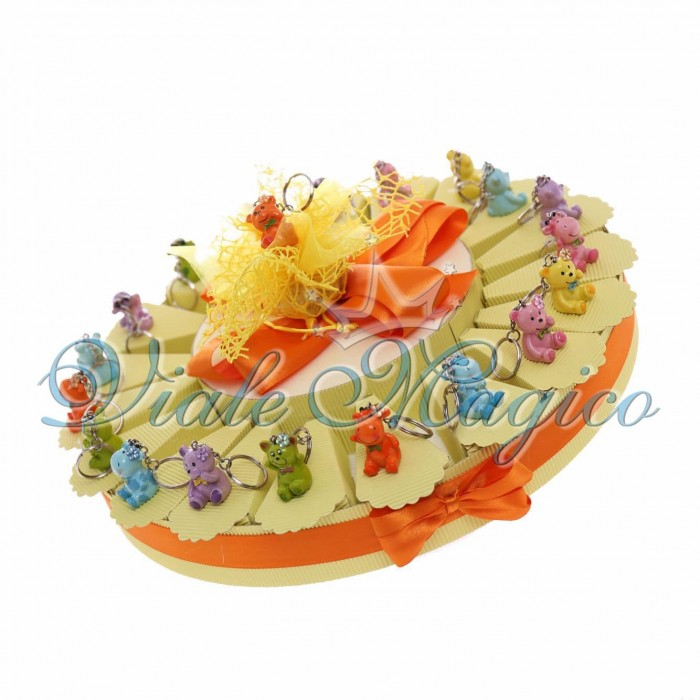 Torta Portaconfetti Portachiavi Animaletti Mix Compleanno Bimba e Bimbo Confetti