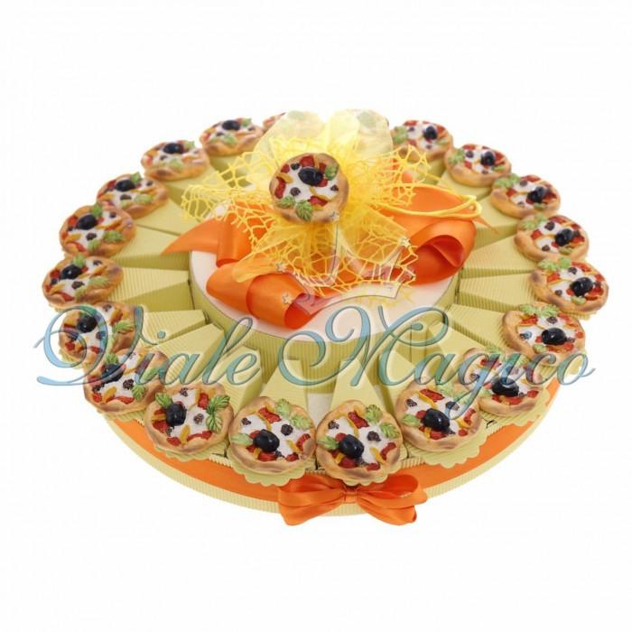 Torta Bomboniera Magnete Pizza Compleanno 18 Anni 20 pezzi Confettata Nastri Applicazioni