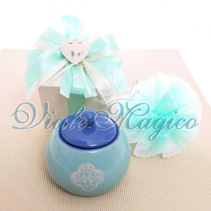 Bomboniera Matrimonio Zuccheriera Verde e Blu Linea Panarea Scatola da Cerimonia