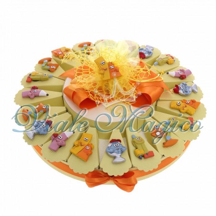 Torta Porta confetti Magnete Scrivania Righello,Matita, Diploma, Compleanno,Scuola Confetti Festa