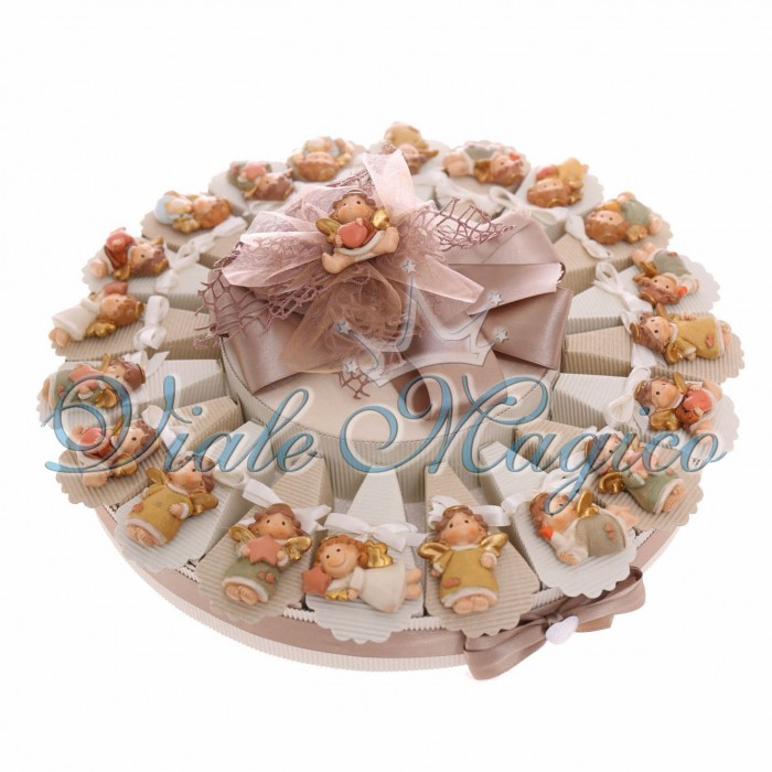 Bomboniere Torta 20 pezzi Magnete Angelo con Stella Battesimo femminuccia e Maschietto Confetti