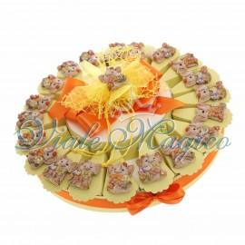 Torta Bomboniera con 20 Magnete Elefantino dei Fiori Nascita Battesimo Compleanno