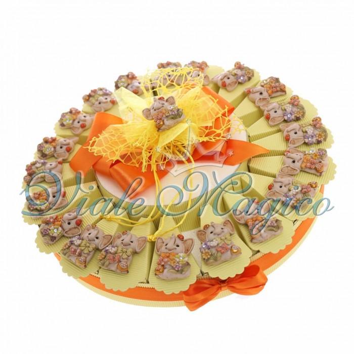Torta Bomboniera 20 Magnete Elefantino dei Fiori Nascita Battesimo Compleanno Nastrino Fiocchi