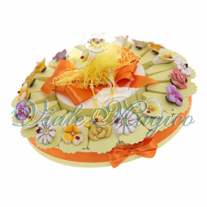 Torta Bomboniera Magnete Fiori Misti con Strass Promessa di Matrimonio Segnaposto Bouquet