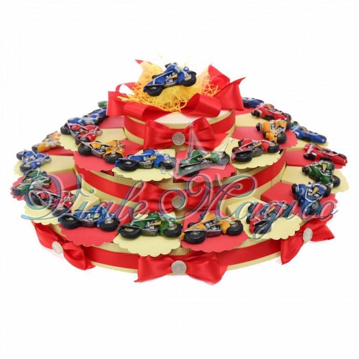 Bomboniere Torta Magnete Motocilcetta Maxi Astucci Porta Confetti 30 pezzi Compleanno Confetti