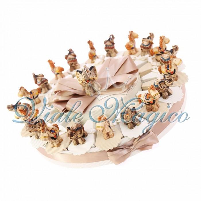 Torta Portaconfetti Statuine Stile Orientale Etnico Elefante e Cammello 20 pezzi Ricordo Omaggio Offerta