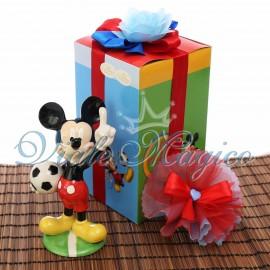 Bombonere Compleanno Bimbo Topolino Calciatore Disney con Scatola da Cerimonia