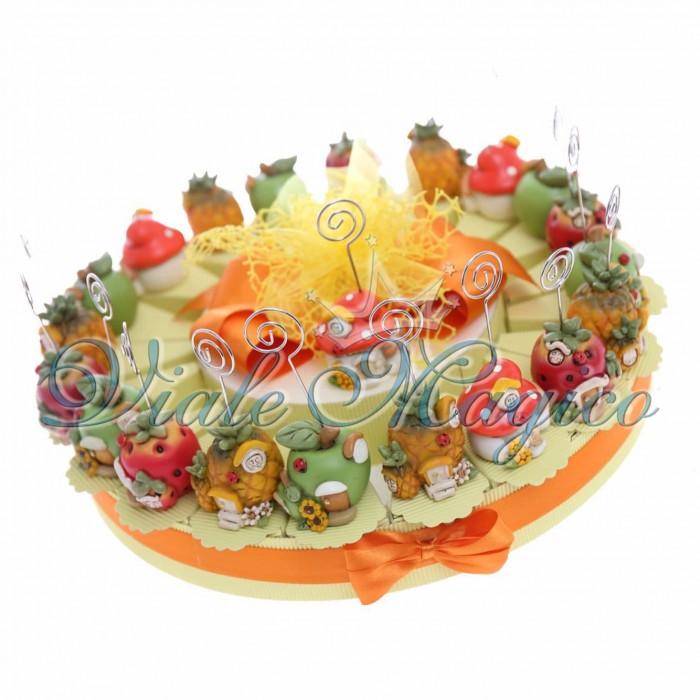 Composizione Torta Bomboniera 20 pezzi Casette Portafoto Frutta Confetti Bouffet