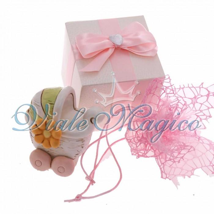 Bomboniere Online Nascita Battesimo Salvadanaio Carrozzina Shabby Bimba in Scatola Elegante