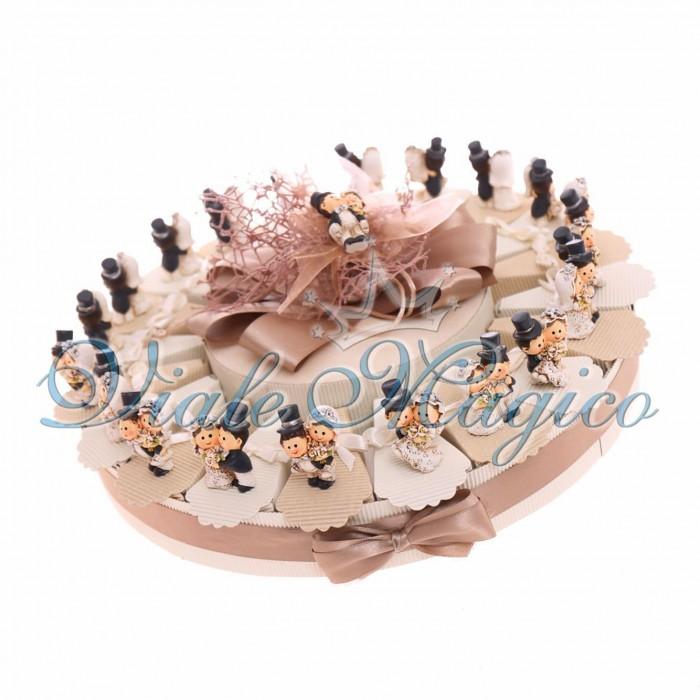 Torta Portaconfetti 20 pezzi Magnete Sposi Classico Matrimonio Segnaposto