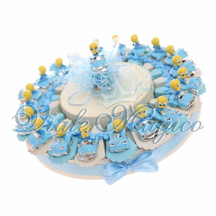 Torta Bomboniera Titty Macchina Nascita Primo Compleanno Confetti Caramelle Maschietto 20 pezzi