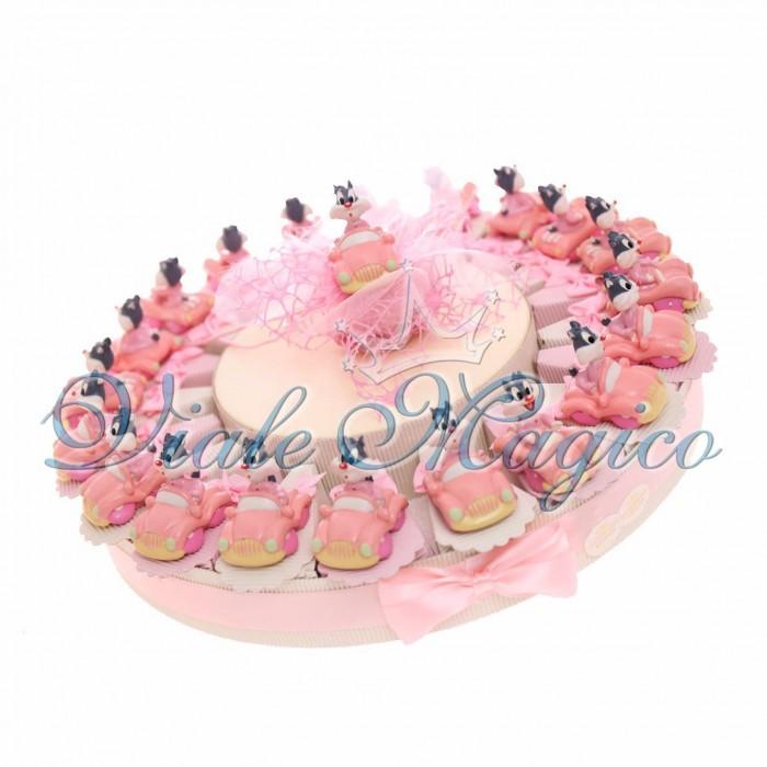 Cesto Torta 20 pezzi Portaconfetti Gatto Silvestro Nascita Primo Compleanno Bimba