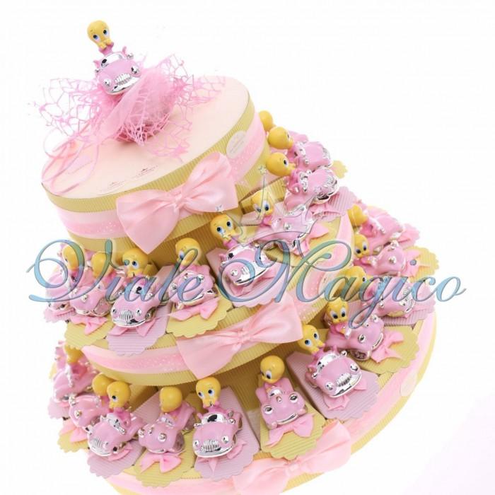 Torta Porta Confetti Titty e Macchinina Confettata Caranmellata Primo Compleanno Bimba 35 pezzi