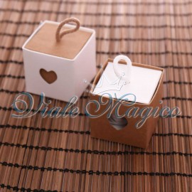 Bomboniere Scatolina Cuori e Cordino con Confetti Confettata Offerte Matrimonio