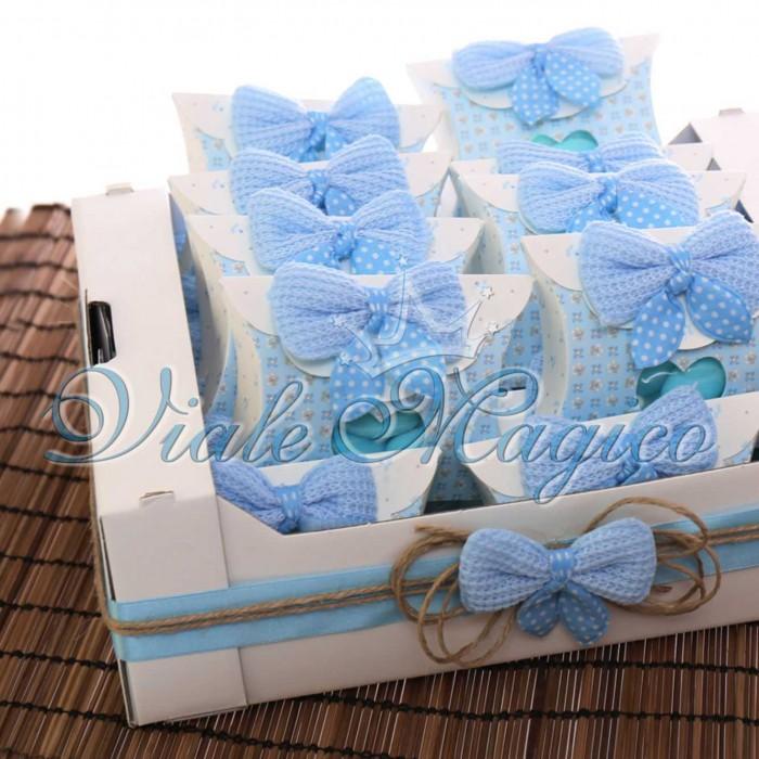 Bomboniere Nascita Battesimo Primo Compleanno Scatolina Busta Cuore con Confetti