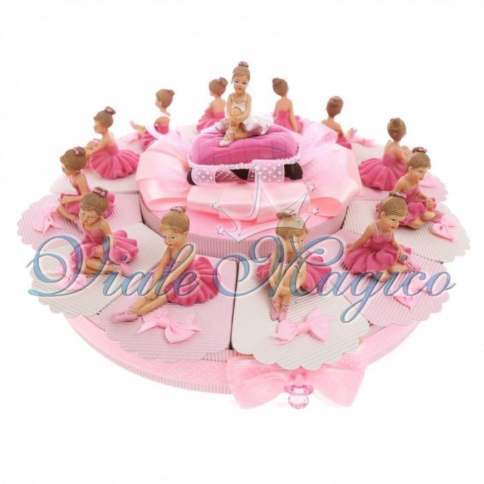 Torta Bomboniera 12 pezzi Ballerina Danza Classica Battesimo Comunione