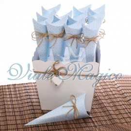 Bomboniere Nascita Battesimo Coni con Vassoio linea Bloom Celeste