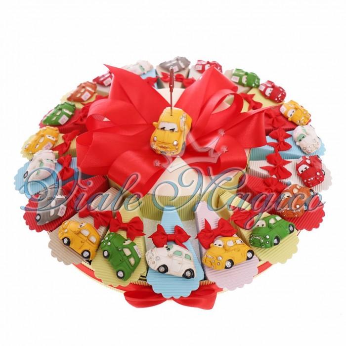 Torta Porta Confetti Magnete Macchina 500 Colorate Confettata Compleanno Bimbo