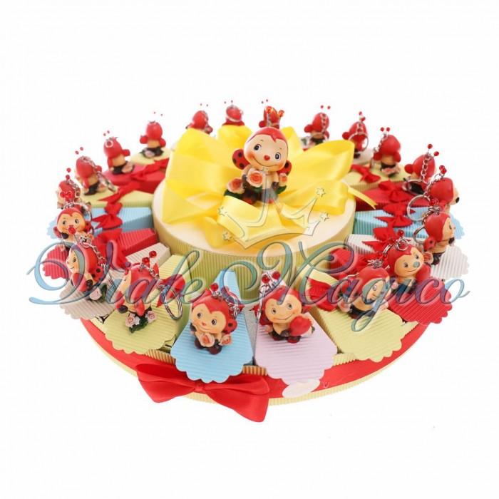 Torta Porta Confetti Portachiavi Coccinella Confettata Compleanno Bimba 20 pezzi Offerta